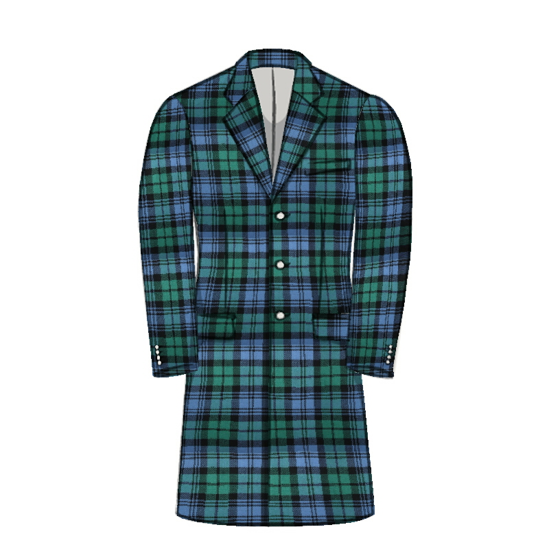 Men's Knee Length Tartan Jacket