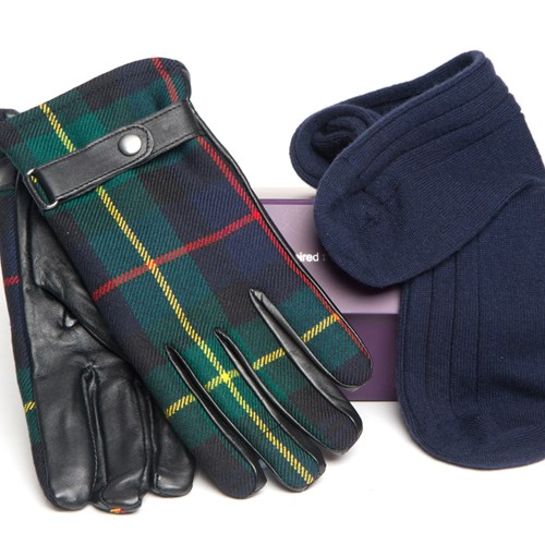 Men's Cashmere Socks and Leather Gloves Set in Farquharson Modern